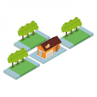 Het isometrische landschap van het huis
