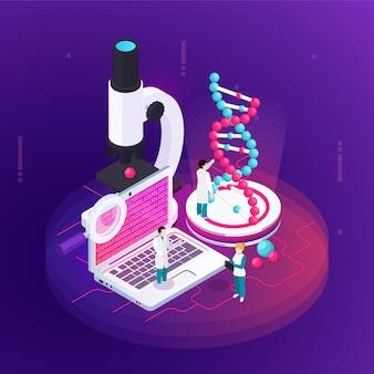Het isometrische ontwerpconcept van de nanotechnologie illustreerde microscopienotitieboekje met wetenschappelijke informatie op het scherm en een groot beeld van het dna-model