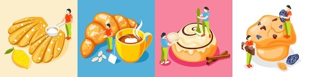 Het isometrische vierkant van bakkerijmensen dat met gebak en koekjes symbolen geïsoleerde illustratie wordt geplaatst