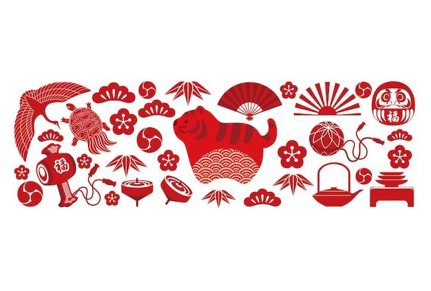 Het jaar van de tijger-wenskaartsjabloon met japanse geluksbrengers tekstvertaling fortune
