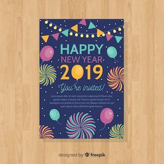 Het jaarkaartpak van het nieuwe jaar vlak kleurrijk vuurwerk