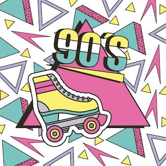 Het jaren 90 rolschaatsontwerp