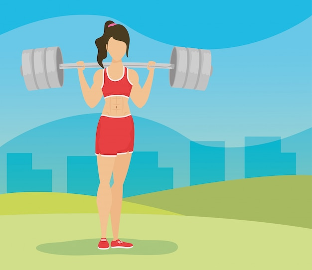 Het jonge gewichtheffen van de vrouwenatleet in het kamp
