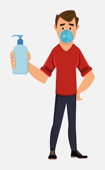Het jonge gezichtsmasker van de jongensslijtage en toont de fles van het handdesinfecterende middel