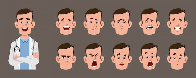 Het jonge karakter van het artsenbeeldverhaal met verschillende gelaatsuitdrukkingreeks. verschillende emoties voor aangepaste animatie