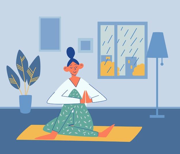 Het jonge meisje doet thuis yoga. regen buiten het raam. sport, yoga, fitnessconcept. actieve levensstijl en lichaamsverzorging. meditatie praktijk. interieur. thuis yoga doen. platte vectorillustratie