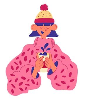 Het jonge meisje drinkt koffie. stijlvolle vrouw in een trui en een hoed die haar kopje vasthoudt. genieten van een warm drankje. banner met lachende vrouw en drank. platte vectorillustratie geïsoleerd op een witte achtergrond.