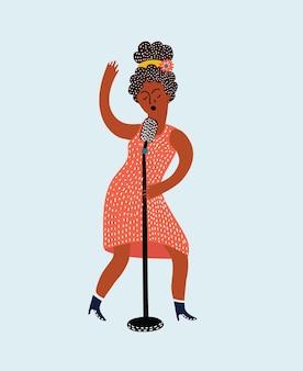 Het jonge mooie meisje zingt een lied in de microfoon geïsoleerde vectorillustratie