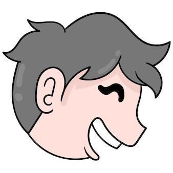 Het jongenshoofd uit de zijhoek lachte vrolijk, vectorillustratie kartonnen emoticon. doodle pictogram tekening