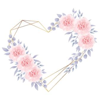 Het kaderachtergrond van de liefde bloemen met rozen