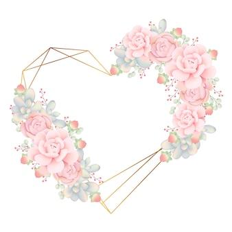 Het kaderachtergrond van de liefde bloemen met succulents