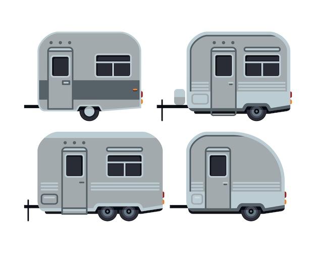 Het kamperen aanhangwagen vastgestelde vectorillustratie