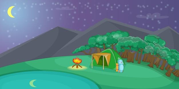 Het kamperen horizontale achtergrondnacht, beeldverhaalstijl