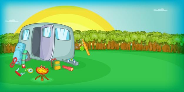 Het kamperen horizontale zonsondergang als achtergrond, beeldverhaalstijl