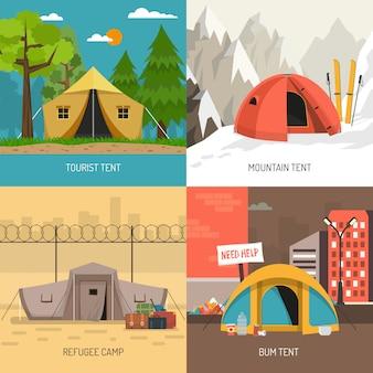 Het kamperen tentconcept 4 pictogrammen vierkante samenstelling