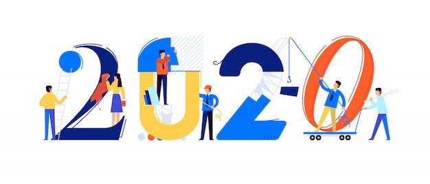 Het kantoorpersoneel bereidt zich voor op het nieuwe jaar 2020