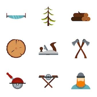 Het kappen van bomen set, vlakke stijl