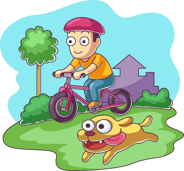 Het karakter berijdende fiets van de jongen met zijn hond