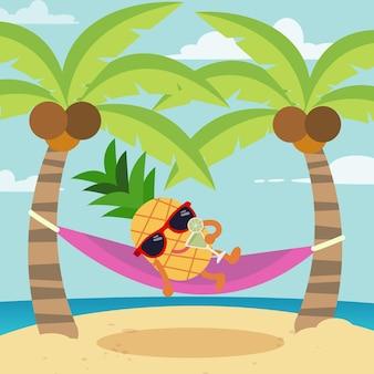Het karakter van ananas draagt een zonnebril en drinkt een cocktail