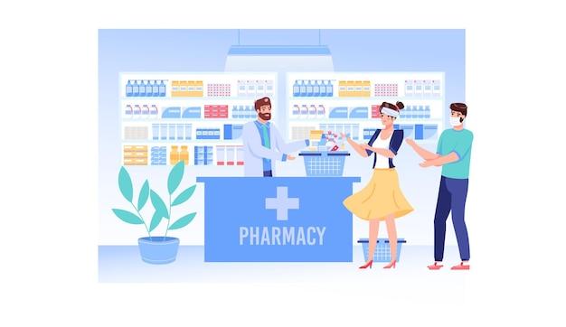 Het karakter van de apotheker verkoopt medicatie aan zieke mensen met een virale infectie