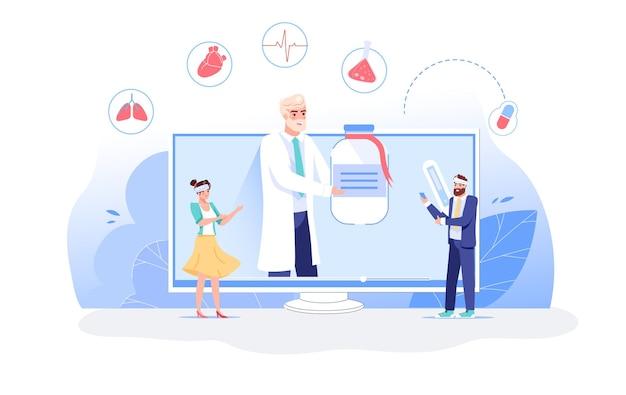 Het karakter van de arts geeft medicijnen aan de zieke persoon via de app op het computerscherm