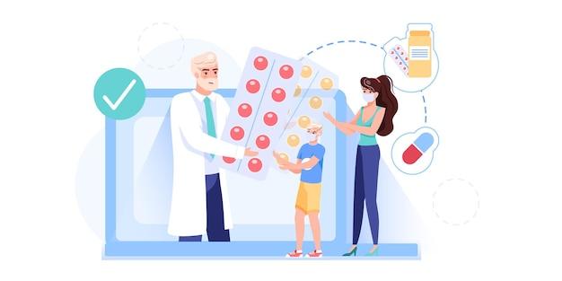 Het karakter van de arts geeft medicijnen medicijnen aan familie
