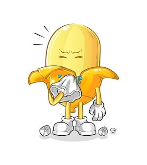 Het karakter van de bananenblazende neus. cartoon mascotte