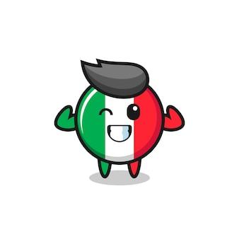 Het karakter van de gespierde italiaanse vlag poseert met zijn spieren, schattig stijlontwerp voor t-shirt, sticker, logo-element