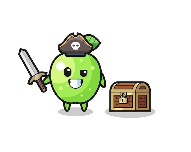 Het karakter van de groene appelpiraat met zwaard naast een schatkist, schattig stijlontwerp voor t-shirt, sticker, logo-element