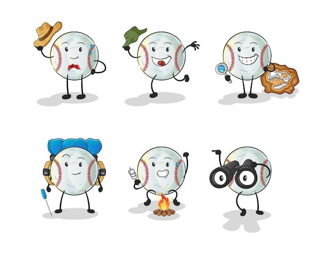 Het karakter van de honkbalavonturengroep. cartoon mascotte