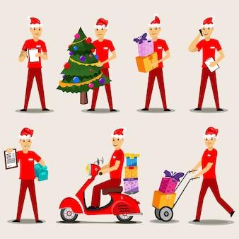 Het karakter van de leveringsmens met giften in een rode vastgestelde illustratie van de kerstmanhoed