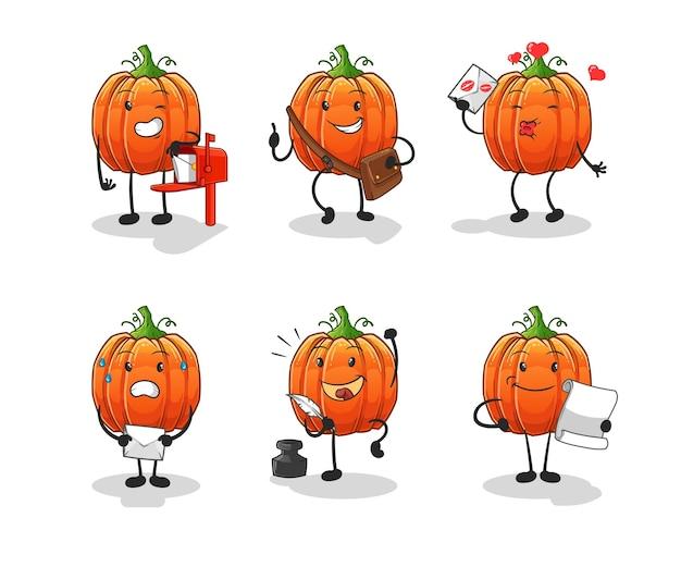 Het karakter van de pompoenpostbode. cartoon mascotte