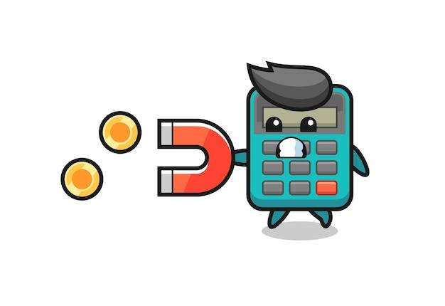 Het karakter van de rekenmachine houdt een magneet vast om de gouden munten te vangen, schattig stijlontwerp voor t-shirt, sticker, logo-element