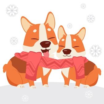Het karakter van de schattige corgi-hond draagt een sjaal met een vriend