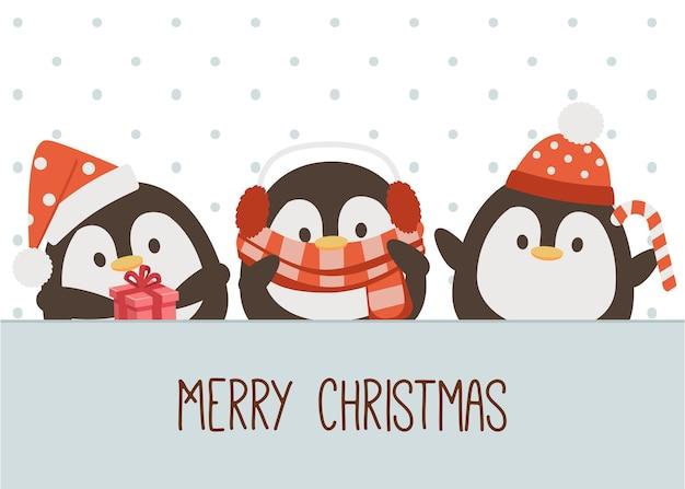 Het karakter van de schattige pinguïn draagt een kerstkostuumthema in vlakke stijl.