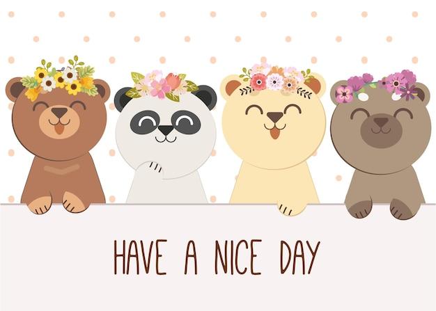 Het karakter van een schattige beer met vrienden draagt een bloemenkroon en de tekst van een fijne dag verder Premium Vector
