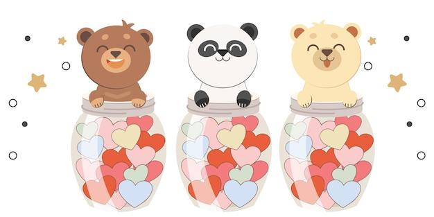 Het karakter van een schattige beer pakt een pot met het hart plat