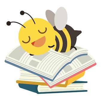 Het karakter van een schattige bij die op de stapel boek slaapt met een platte vectorstijlillustratie over edu