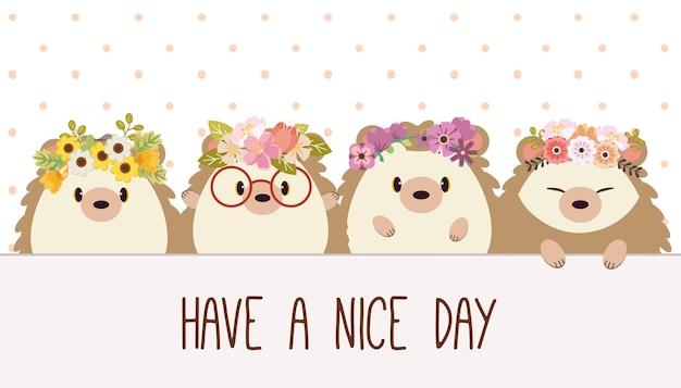Het karakter van een schattige egel met vrienden die staan en een fijne dag zeggen