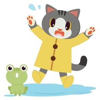 Het karakter van een schattige kat draagt de gele regenjas en laarzen