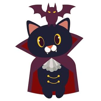 Het karakter van een schattige zwarte kat draagt een vampier pak.