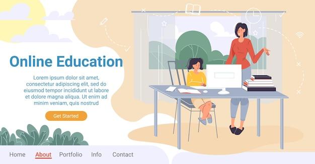 Het karakter van het chartoon-kind zit aan de computertafel en studeert met hulp van moeder of leraar