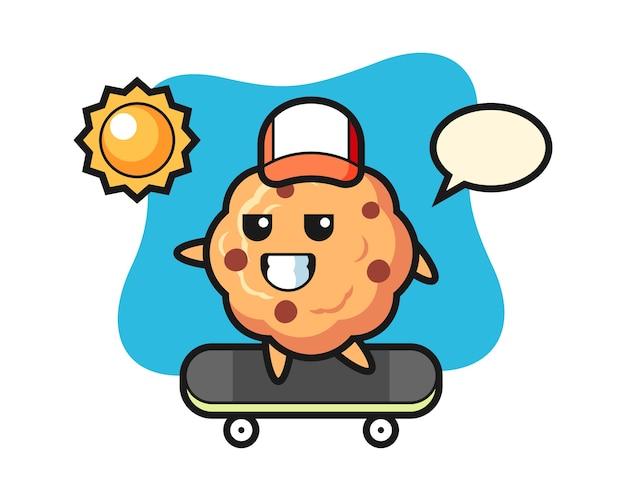 Het karakter van het chocoladeschilferkoekje berijdt een skateboard