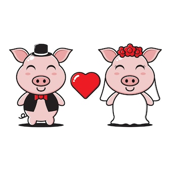 Het karakter van het getrouwde varkenspaar