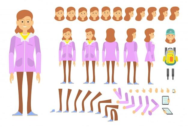 Het karakter van het studentenmeisje dat met verschillend wordt geplaatst, emoties