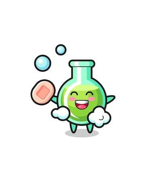 Het karakter van laboratoriumbekers baadt terwijl ze zeep vasthoudt, schattig stijlontwerp voor t-shirt, sticker, logo-element