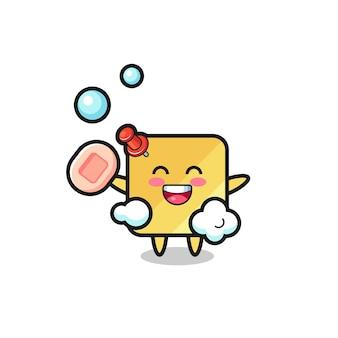 Het karakter van plaknotities is aan het baden terwijl ze zeep vasthoudt, schattig stijlontwerp voor t-shirt, sticker, logo-element