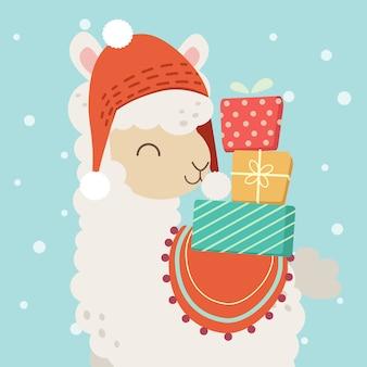 Het karakter van schattige alpaca draagt een rode hoed en zijn rug heeft een veel geschenkdoos