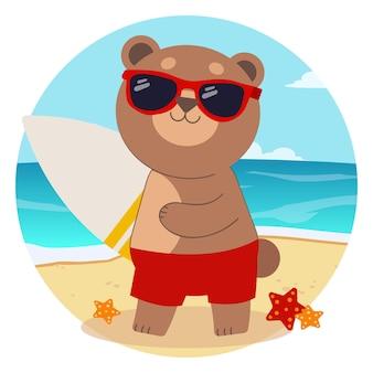 Het karakter van schattige beer draagt een zonnebril en een surfplank in flat
