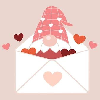 Het karakter van schattige kabouters in letter en hart